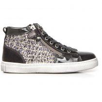 Sneaker Alta Bambina Nero Giardini Grigia in Tela - A732511F105