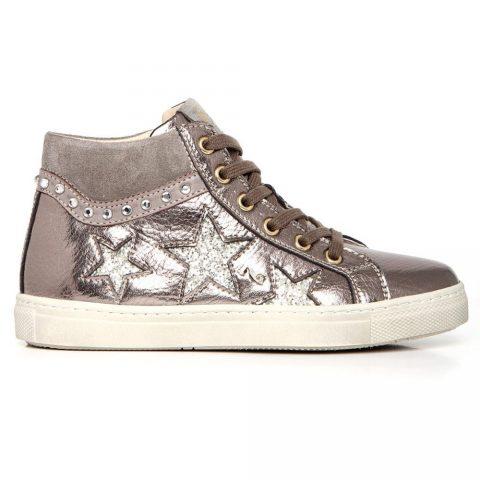 Sneaker Alta Bambina Nero Giardini Platino con Stelle - A732661F415