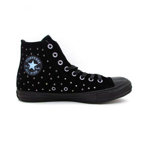 Sneaker Alta Donna Converse Nera CT AS HI con Borchie - 558991C