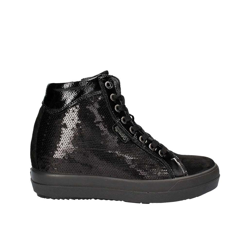 Sneaker-Alta-Donna-Igi&Co-Nera-con-Paillettes---8774000