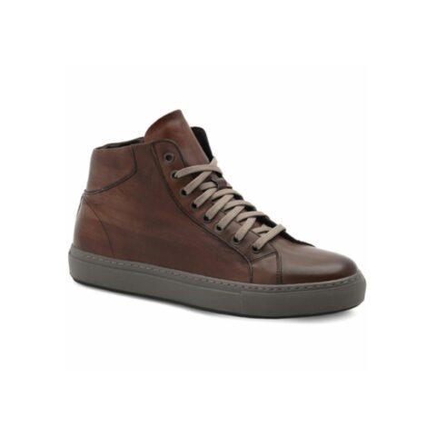 Sneaker Alta Uomo Exton in Pelle Marrone Cuoio - 524
