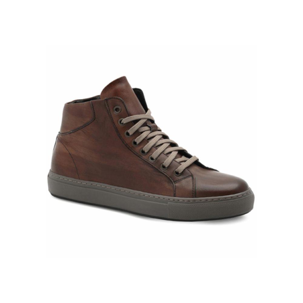 In Marrone Exton Sneaker Alta Cuoio Uomo Pelle K13lFJcT