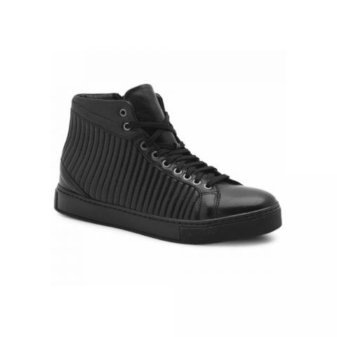 Sneaker Alta Uomo Exton in Pelle Nera - 746