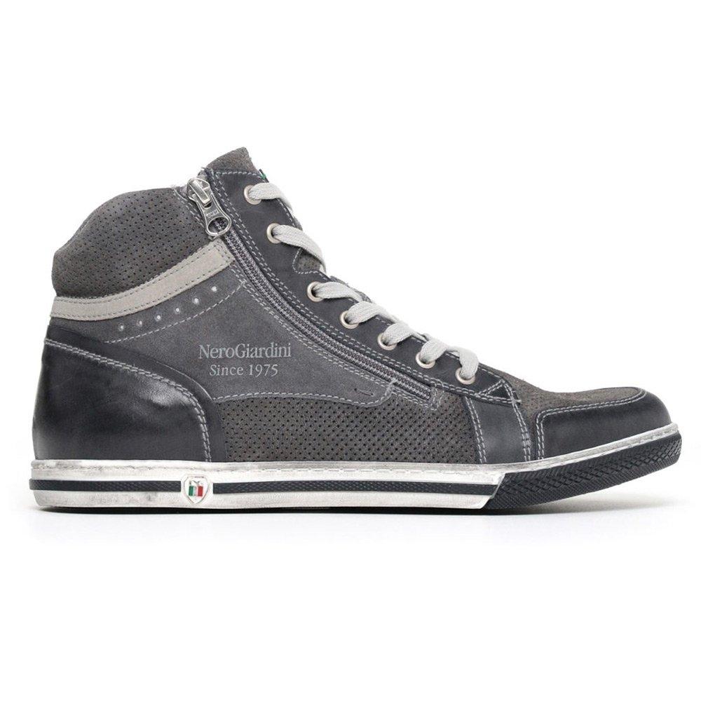 Sneaker Alta Uomo Nero Giardini in Camoscio Blu Grigia - P800252U201
