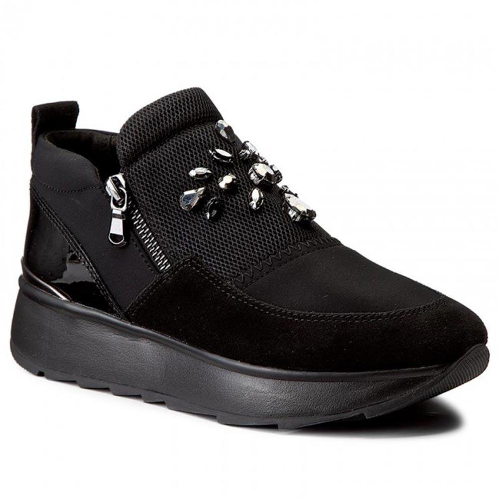 Sneaker Bassa Donna Geox Nera con Pietre