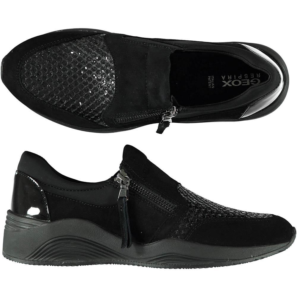Sneaker Bassa Donna Geox Nera con Zip D620SA 021EW C9999