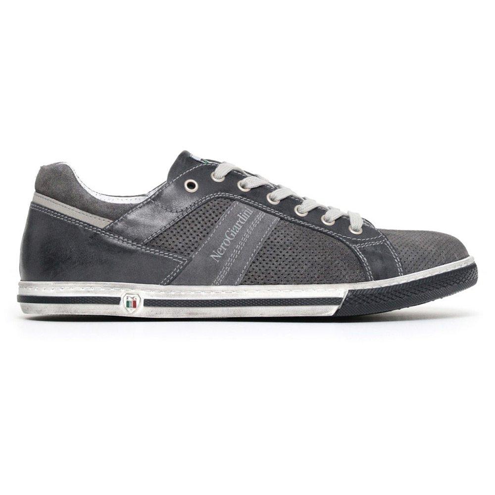 Sneaker Bassa Uomo Nero Giardini in Camoscio Blu Grigia - P800254U214