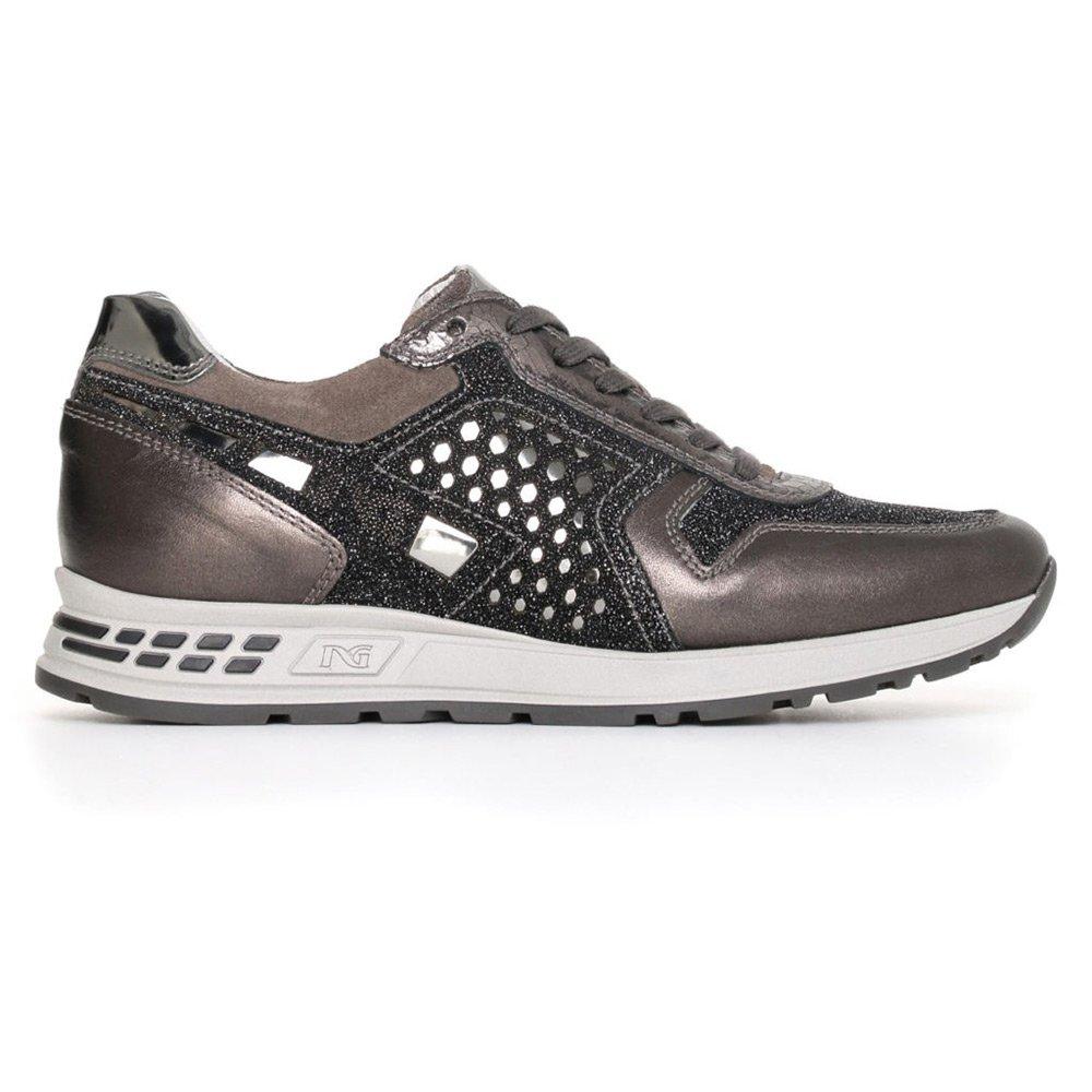Sneaker Donna Nero Giardini Grigia in Camoscio e Pelle A719470D101