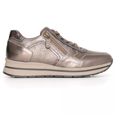 Sneaker Donna Nero Giardini Grigia in Pelle e Camoscio - A719481D500