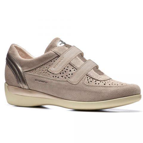 Sneaker Donna Stonefly in Pelle Beige - 110082