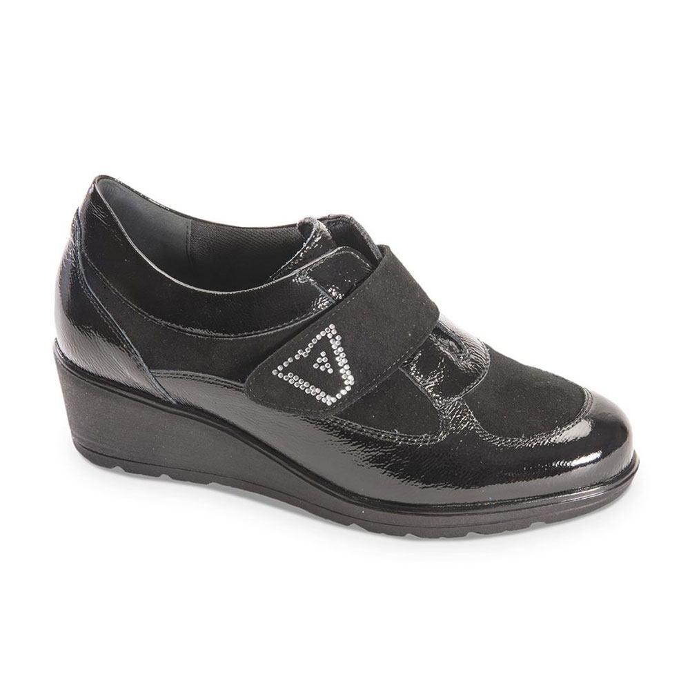 Sneaker Donna Valleverde Nera in Vernice - V17803