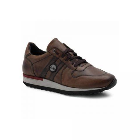 Sneaker Uomo Exton in Pelle Marrone Cuoio - 555