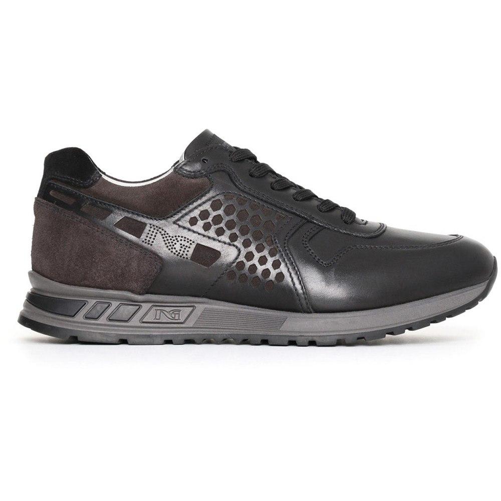 Sneaker Uomo Nero Giardini Nera in Pelle e Camoscio - A705340U100