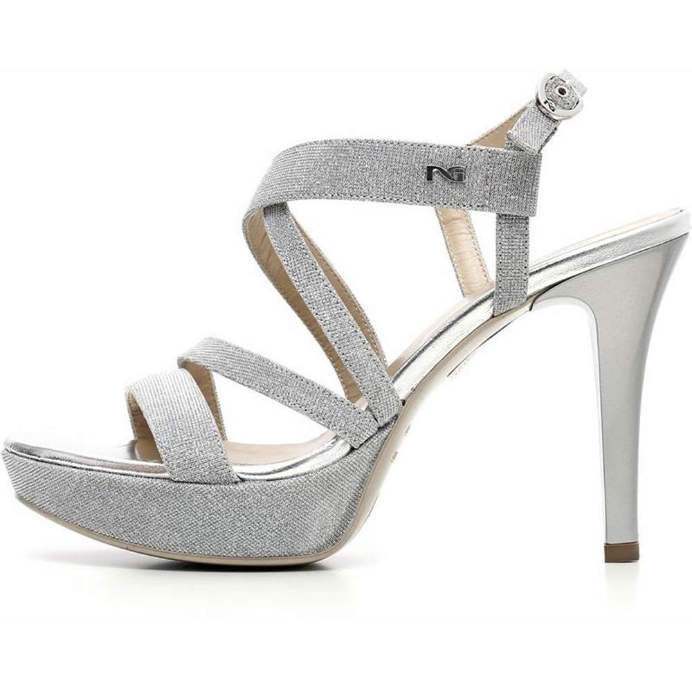 75f0215b1a Sandalo Donna con Tacco a Spillo in Tela Argento P717890DE 705 - Nero  Giardini