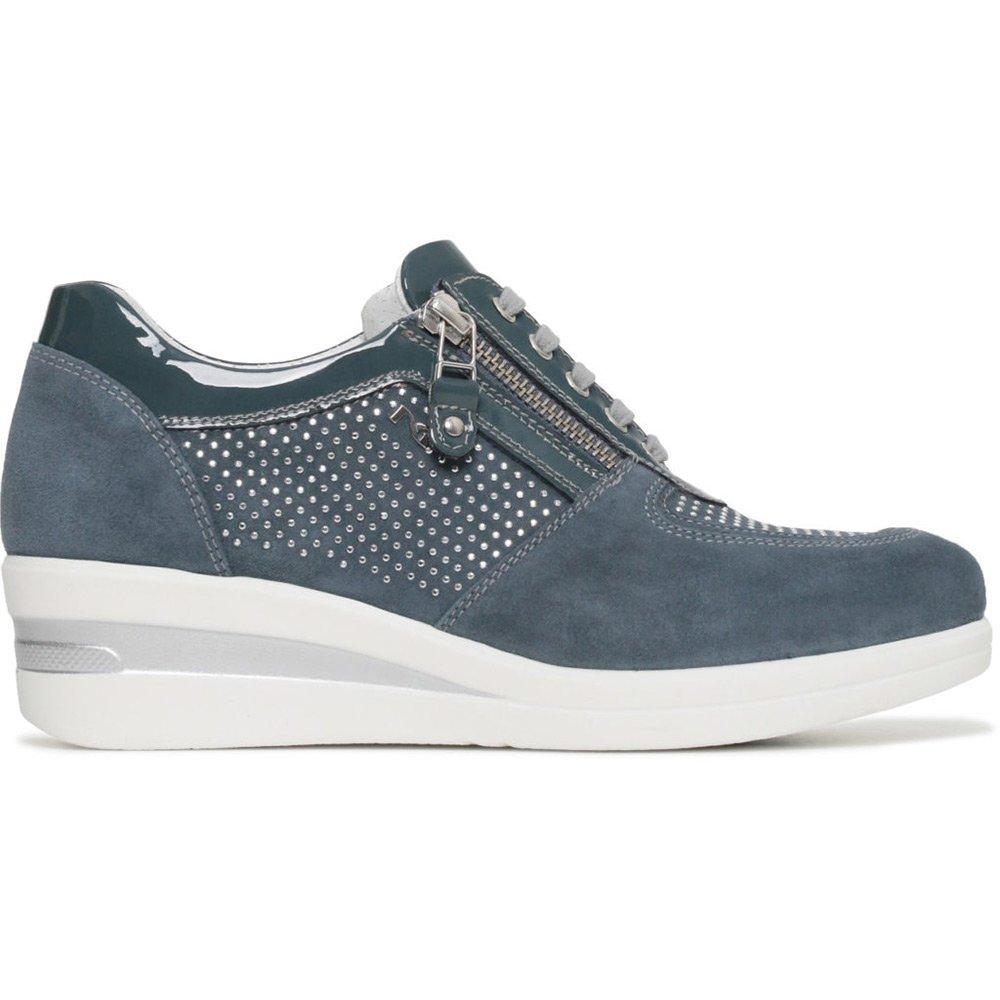 Sneaker Alta Donna Nero Giardini in Camoscio Blu P805060D203