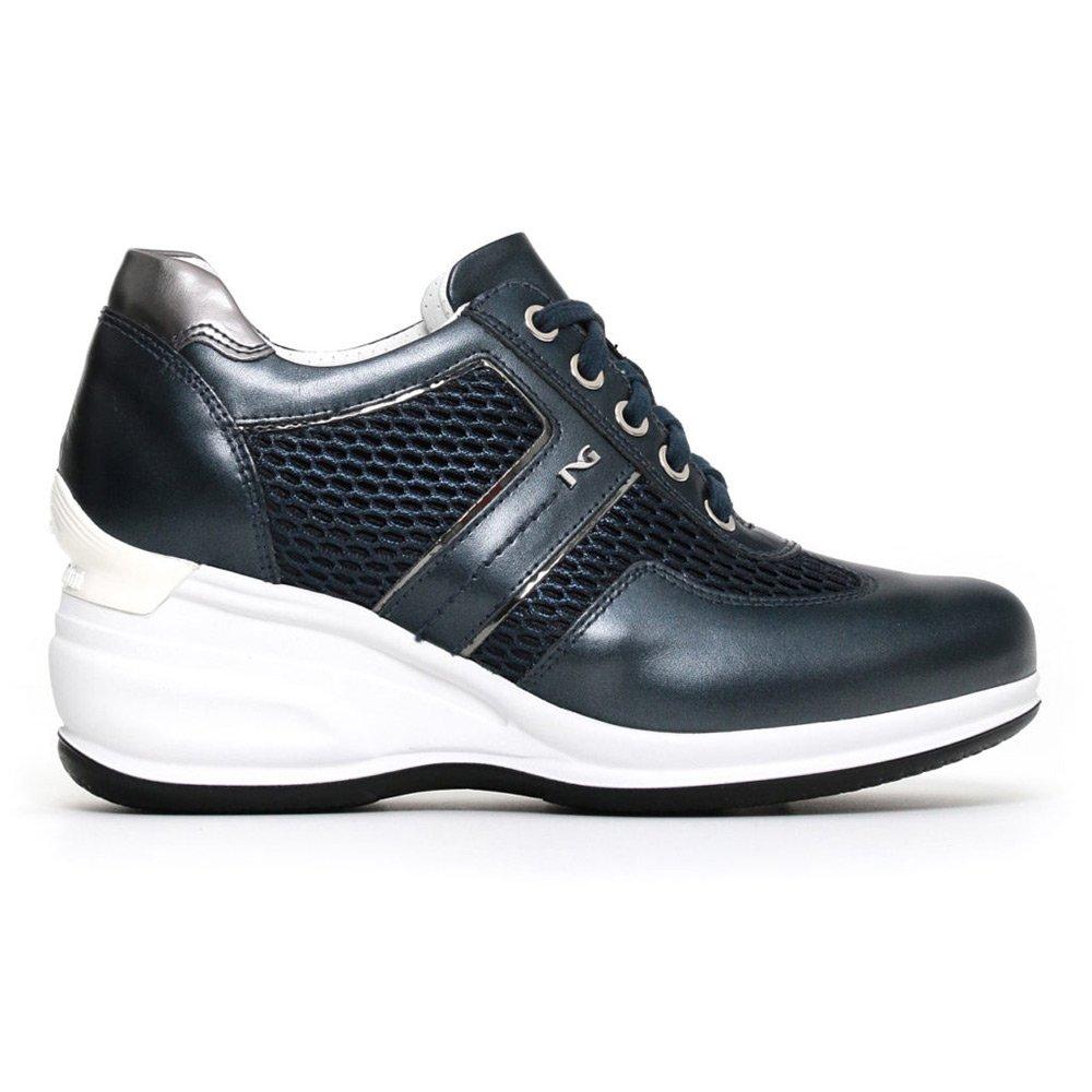 Sneaker Alta Donna Nero Giardini in Pelle Blu P805072D201
