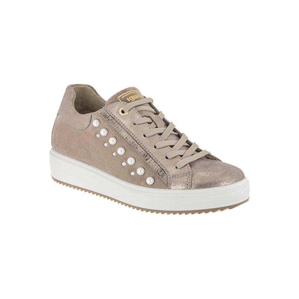 Sneaker Bassa Donna Igi&Co con Perle in Pelle Grigia - 1148733