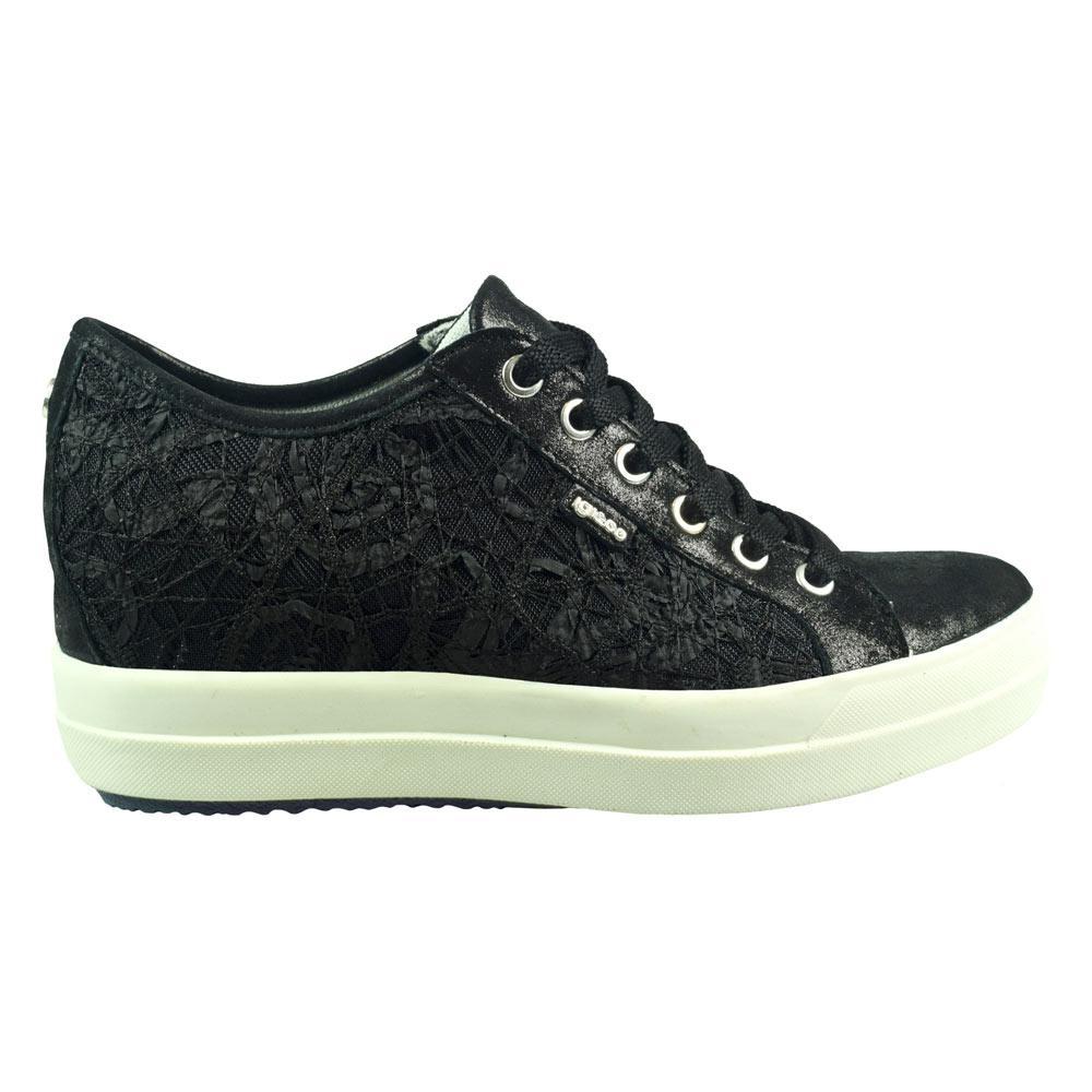 Sneaker Bassa Donna Igi&Co in Pelle con Pizzo Nera - 1150100