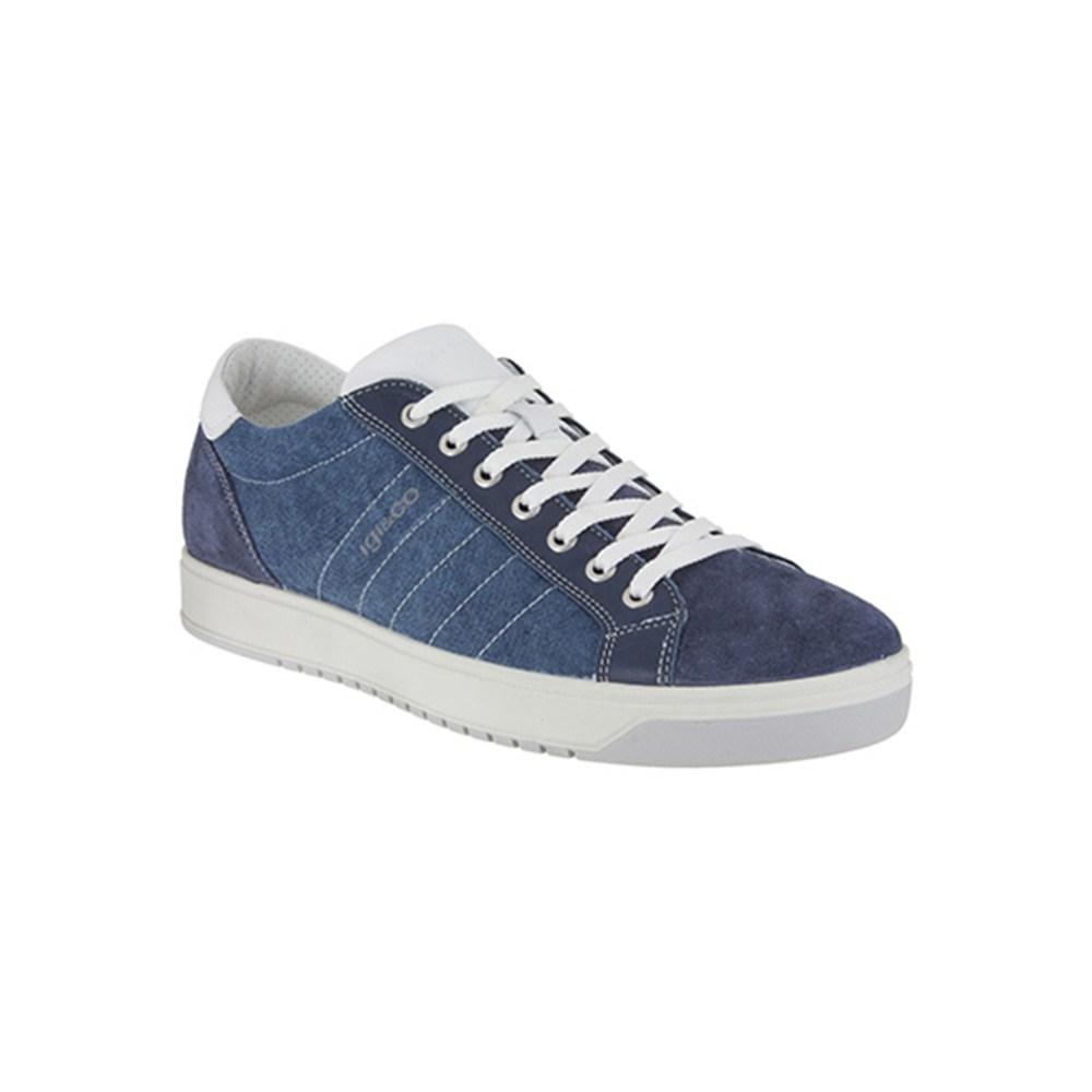 Sneaker Bassa Uomo Igi&Co in Pelle e Tessuto Blu - 1125200