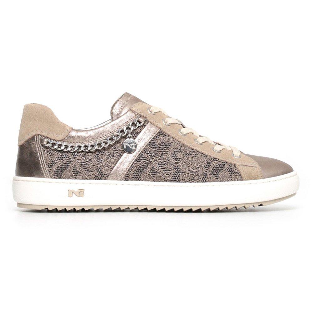 Sneaker Donna con Catena in Pelle Grigia. Collezione Primavera Estate 2018 Nero  Giardini. c58aeec37cc