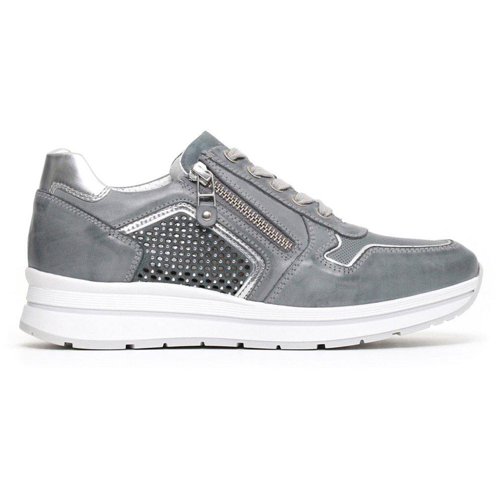 Sneaker Donna Nero Giardini con Zip in Pelle Blu P805241D205