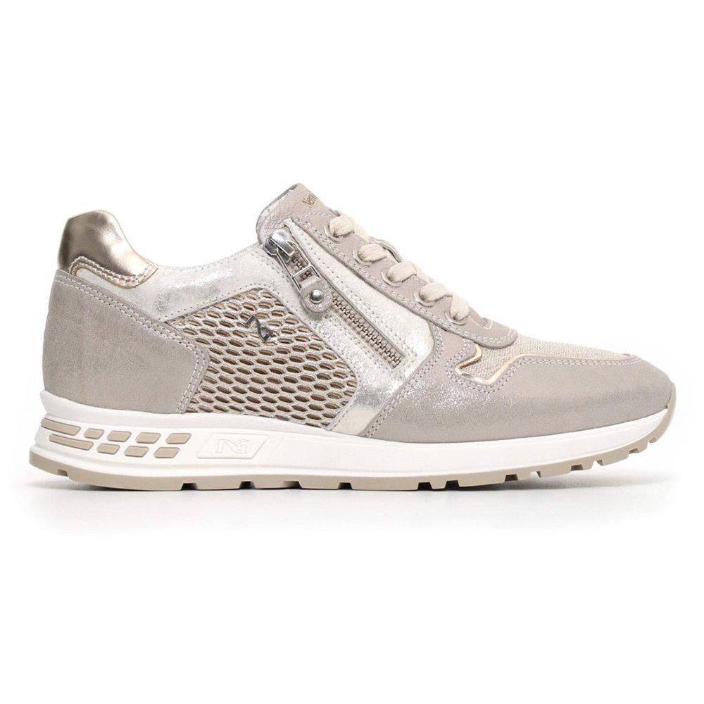 Sneaker Donna Nero Giardini con Zip in Pelle Grigia - P805235D505