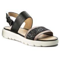 Sandalo Donna Geox in Pelle Gold Nero - D827WG 0LSEW C9999