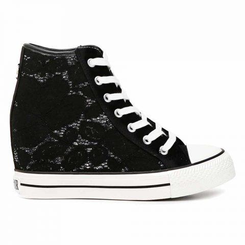 Sneaker Alta Donna Cafè Noir in Pizzo Nera - KDG924010