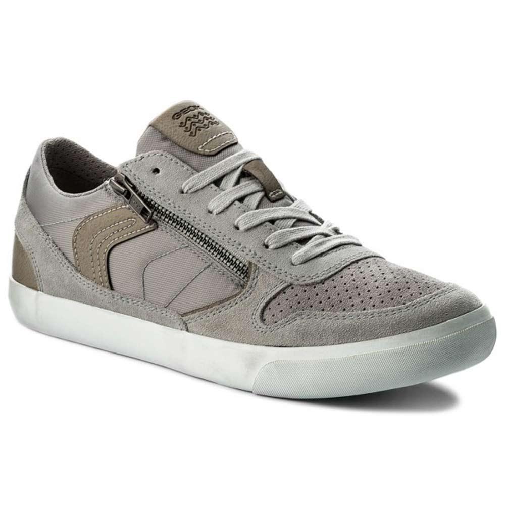 Uomo Grigia Geox Sneaker In Camoscio rhQdtCs