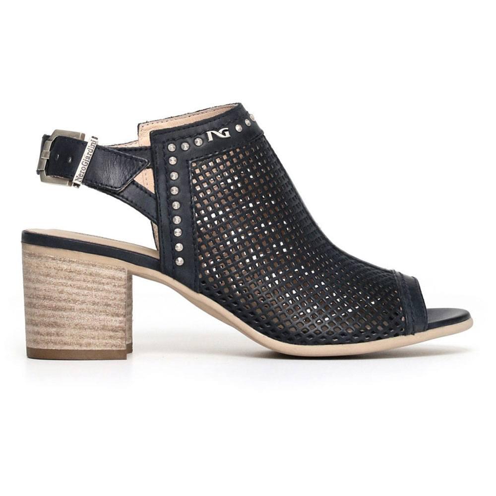 Sandalo Donna Nero Giardini in Pelle con Fibbia Nero P805721D100