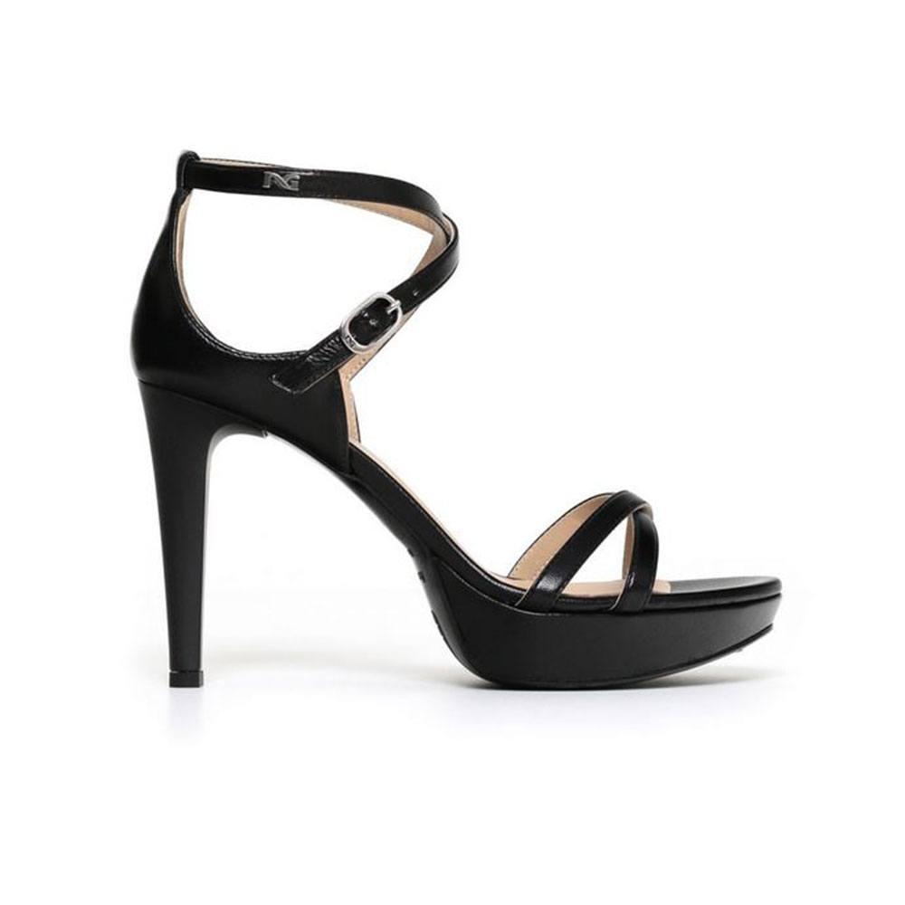 Sandalo Donna Nero Giardini con Tacco in Pelle Nero P806040D100