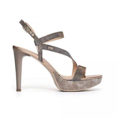 Sandalo Donna Nero Giardini con Tacco in Pelle Rame - P806070D327