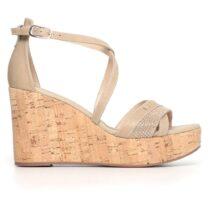 Sandalo Donna Nero Giardini con Zeppa Alta Sabbia - P805690D410
