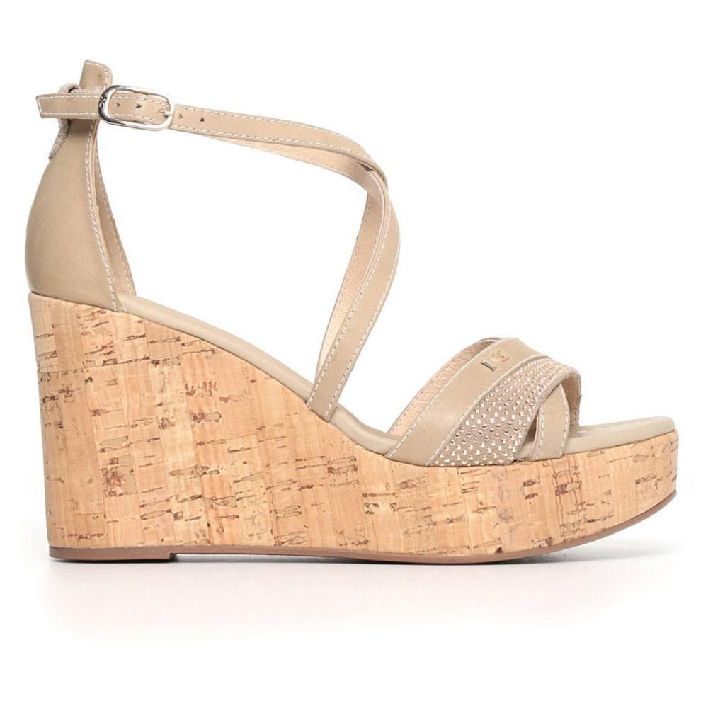 Sandalo Donna Nero Giardini con Zeppa Alta Sabbia P805690D410
