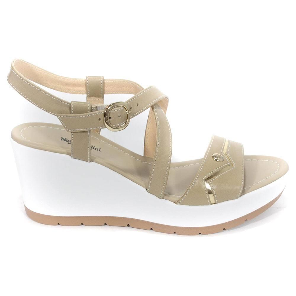 Sandalo Donna Nero Giardini con Zeppa Sabbia P805710D410