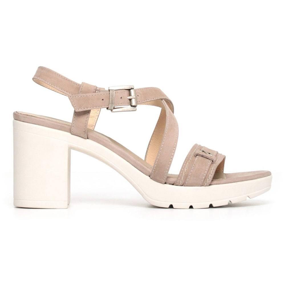 Sandalo Donna Nero Giardini in Pelle con Fibbia Tortora P805742D406