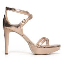 Sandalo Donna Laminato Nero Giardini con Tacco Oro - P806041DE434