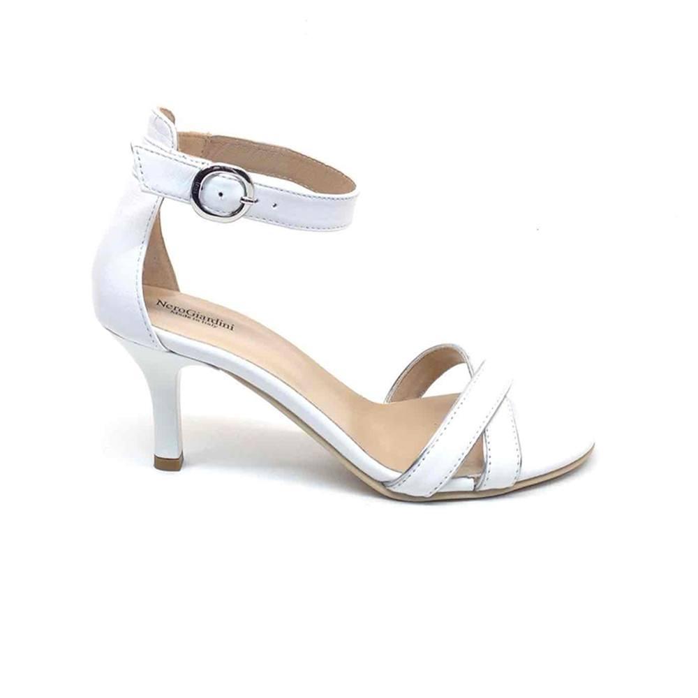 Sandalo Donna Nero Giardini in Pelle Bianco - P806001DE707