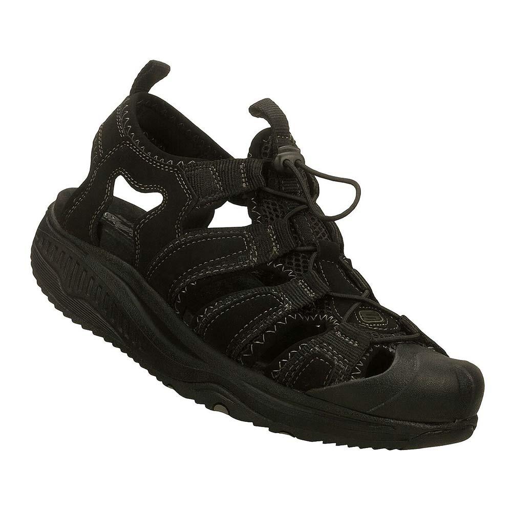 Sandalo Uomo Skechers in Pelle Nero