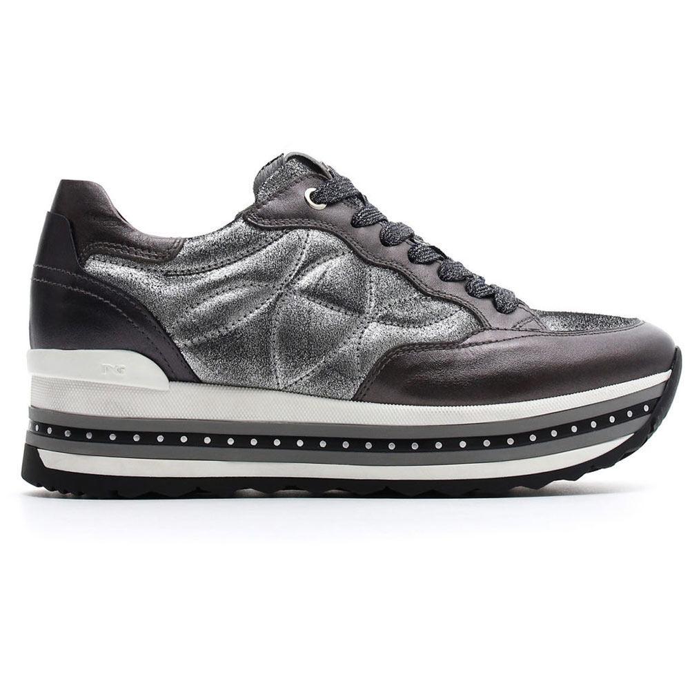 Sneaker Donna Nero Giardini in Pelle Grigia con Zeppa - A806601D109 ... f80dd692a9b