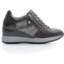 Sneaker Donna Nero Giardini in Pelle laminata Grigia con Zeppa - A806611D101