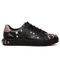 Sneaker Donna Cafè Noir con Stampa Stelle e Borchie in Pelle Maculato - DH913
