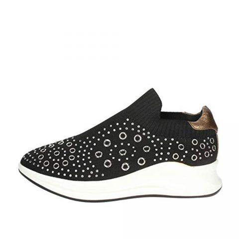 Sneaker Alta Donna Pregunta con Pietre in Camoscio Nera - PCG02001