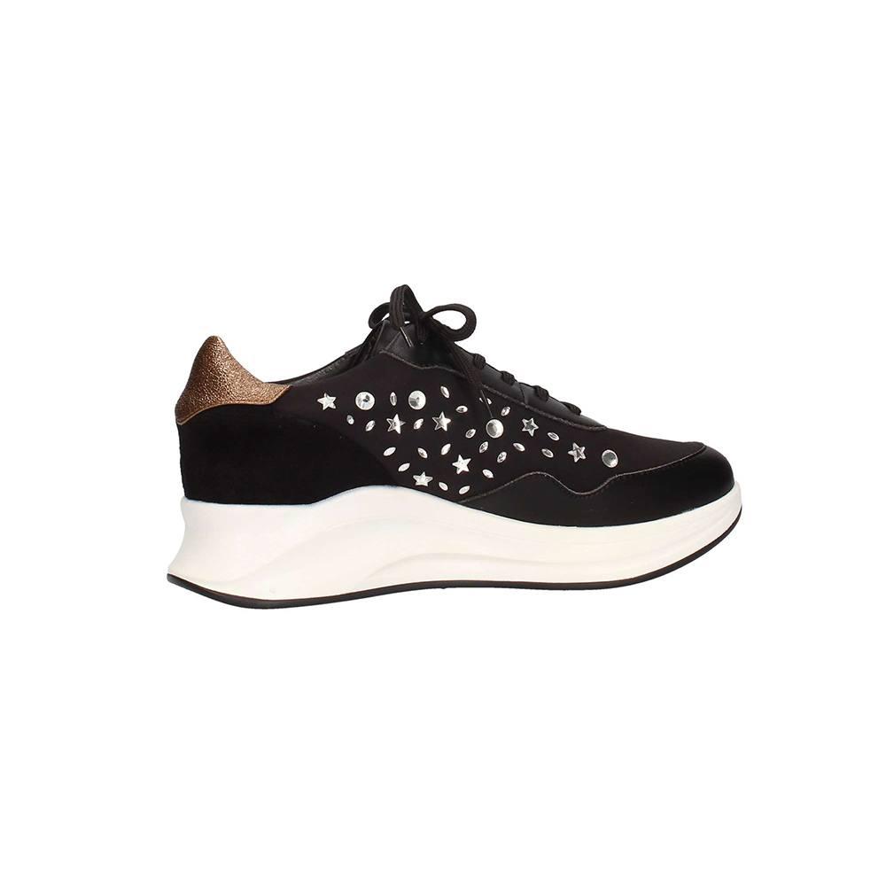 Sneaker Donna Pregunta con Pietre in Camoscio Nera