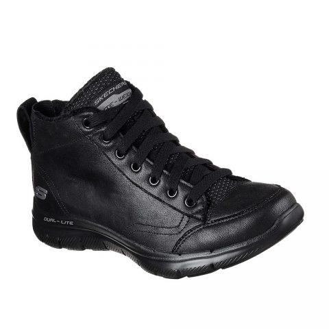 Sneaker Donna Alta Skechers in Pelle Nera - 12892BBK