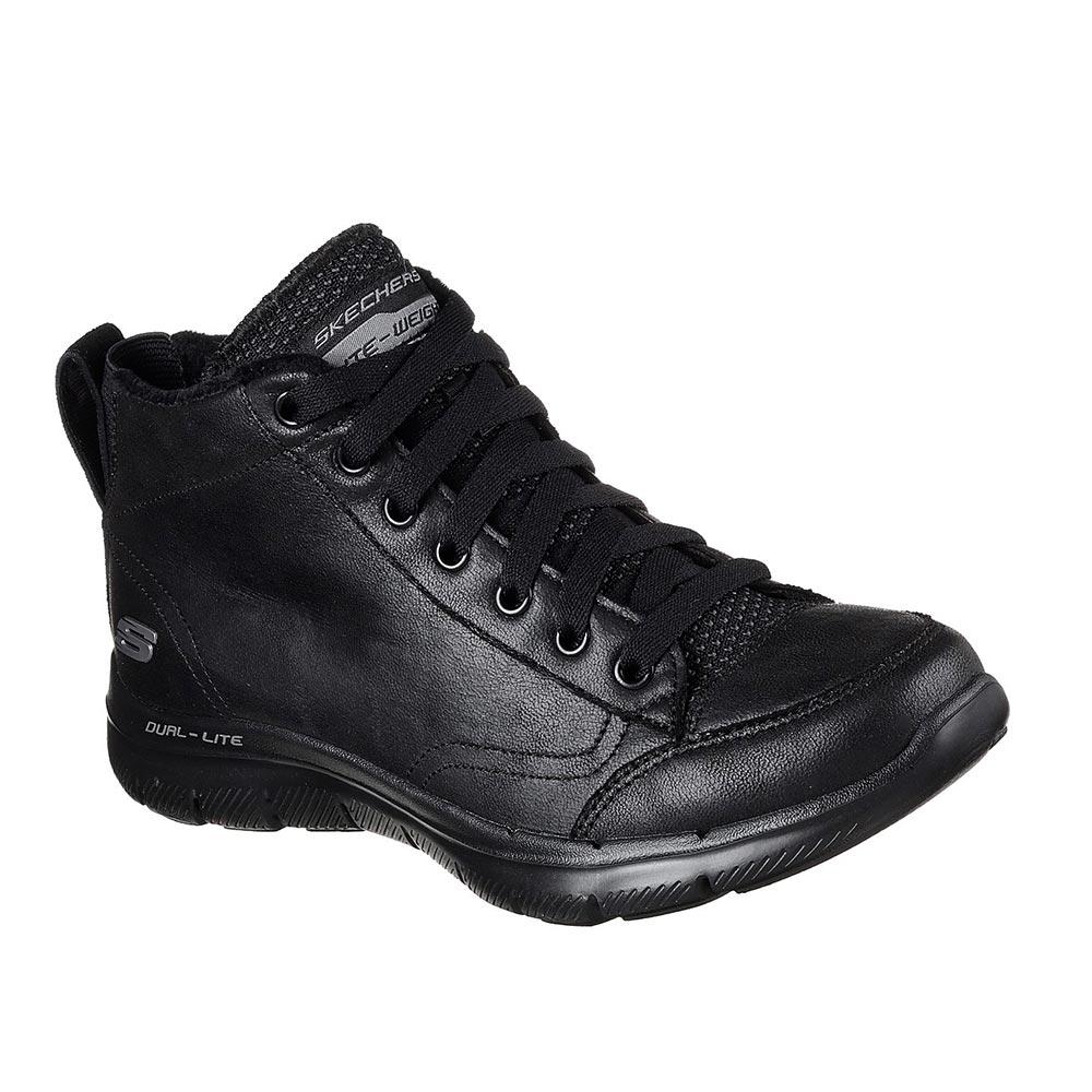 Sneaker Donna Alta Skechers in Pelle Nera