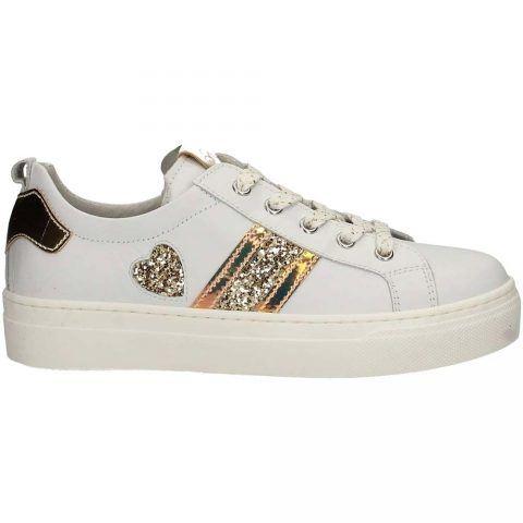 Sneaker Bambina Nero Giardini Junior in Pelle con Strass Bianca - P930910F707