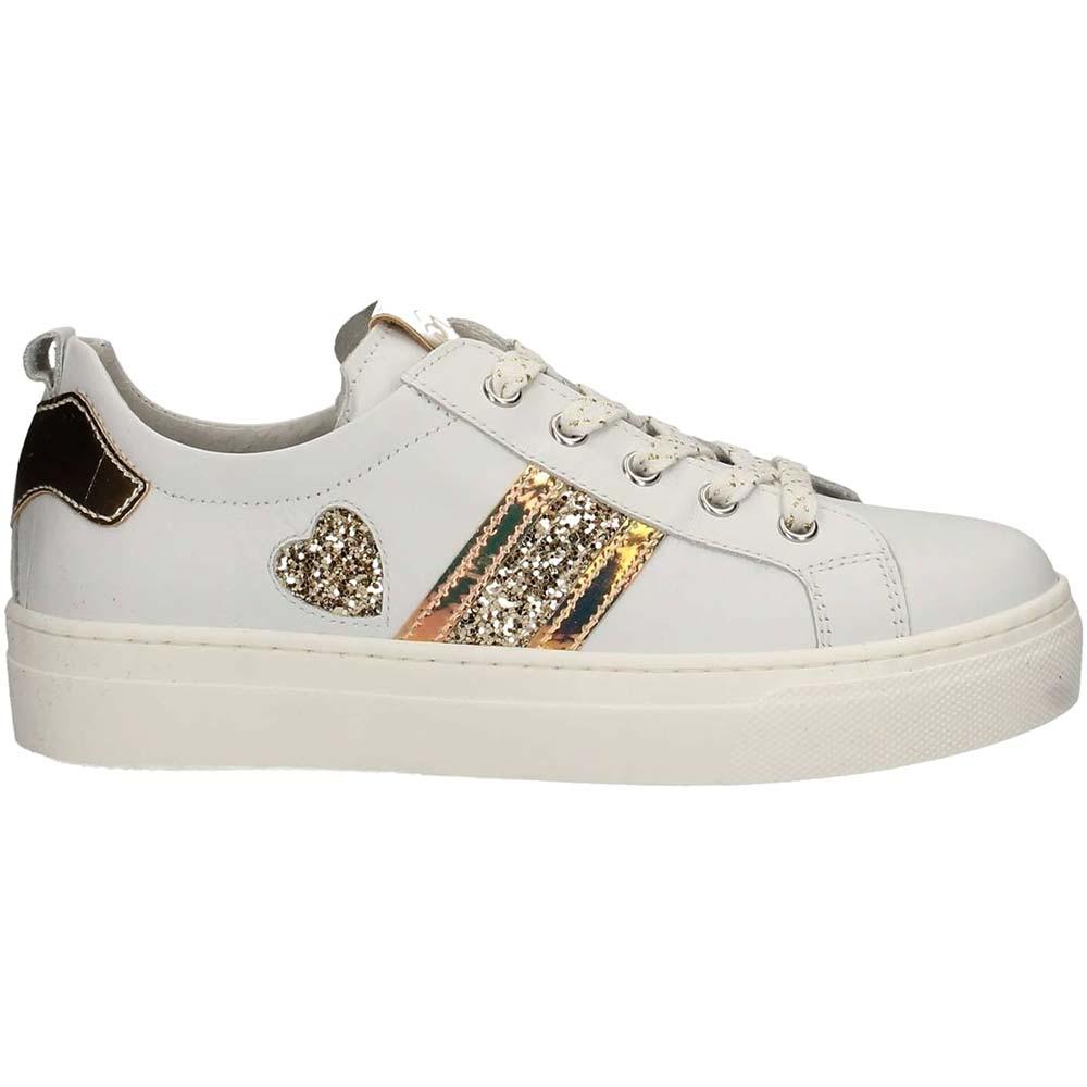 Dettagli su Sneaker Bambina Nero Giardini Junior in Pelle con Strass Bianca P930910F707