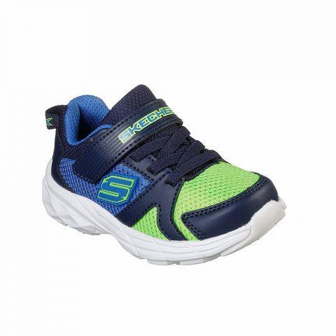 Sneaker Bambino Skechers Kids in Tessuto Blu e Verde - 95020NBLLM