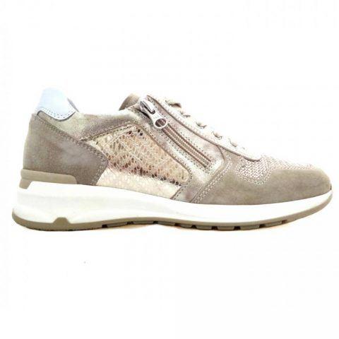 Sneaker Donna Nero Giardini in Camoscio con Paillettes Avorio e Oro - P907530D702